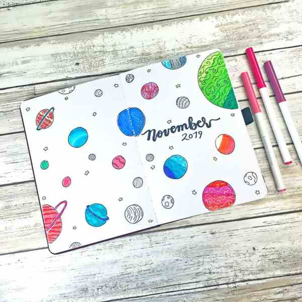 Crayola supertip markers bullet journal planet doodles
