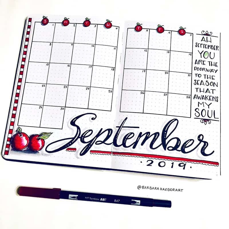 Cherry monthly calendar September