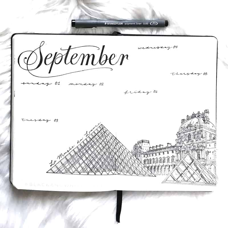Louvre bullet journal spread for September
