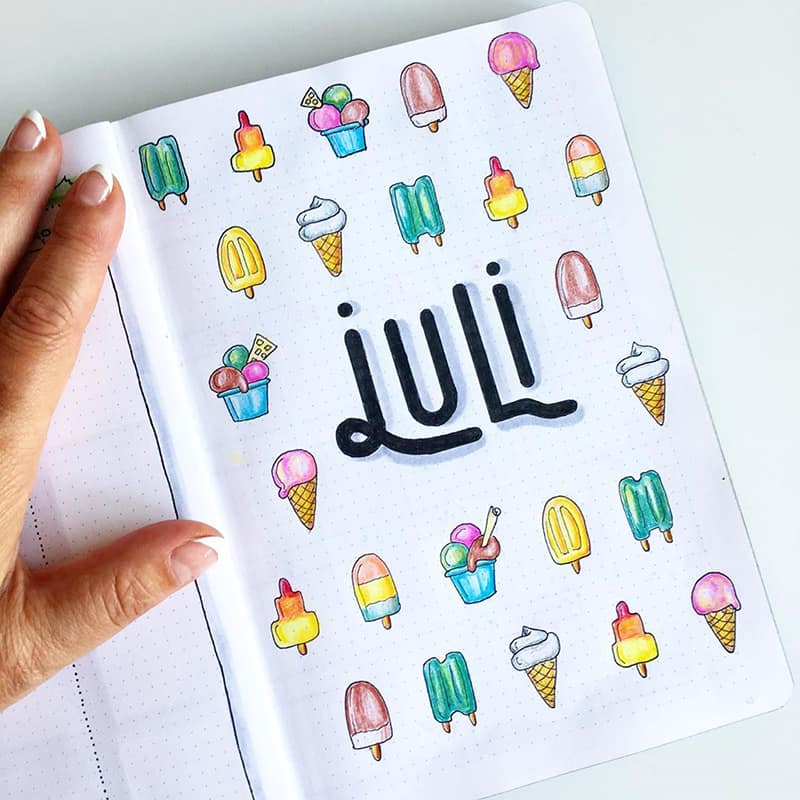 Ice cream cover theme page for July