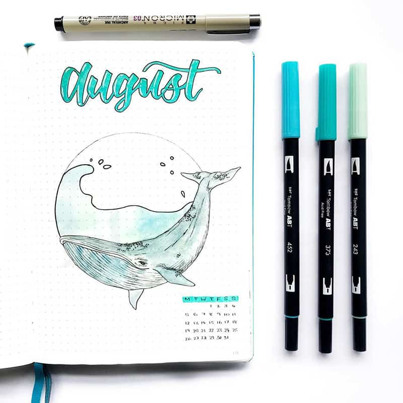 Whale theme bujo cover page