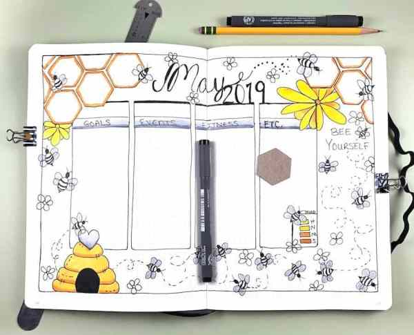 Weekly bee bujo spread