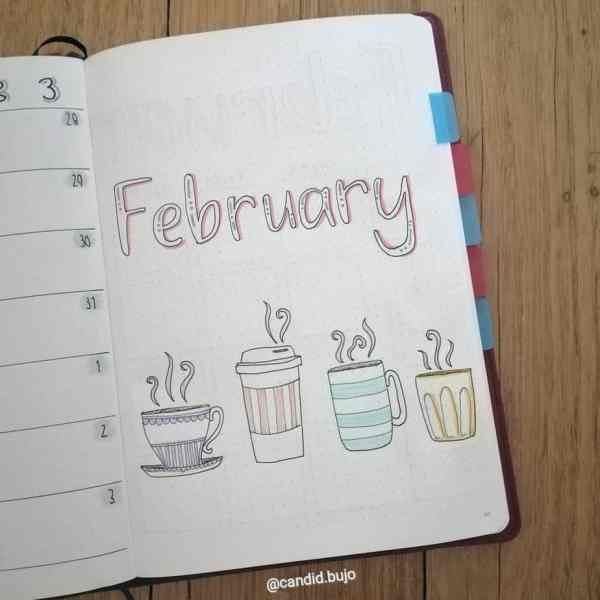 February bullet journal coffee theme