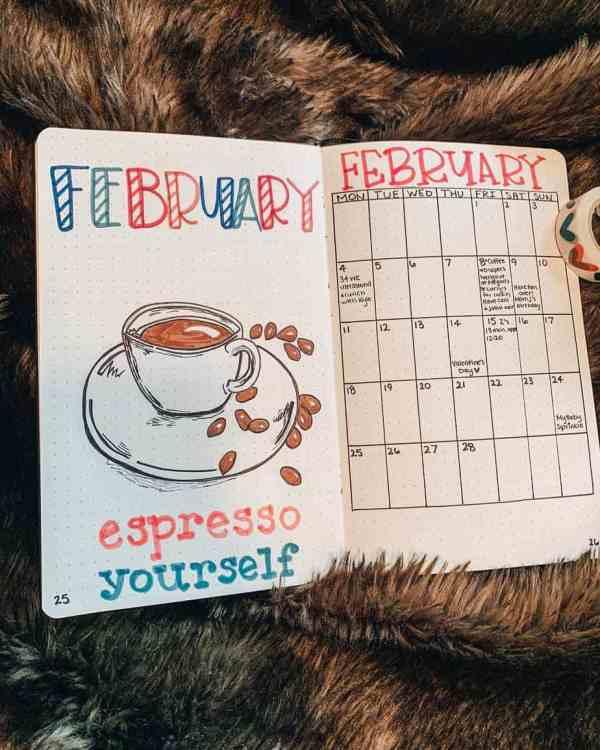 Coffee calendar page