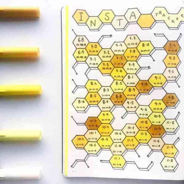 Bee Instagram Tracker bullet journal
