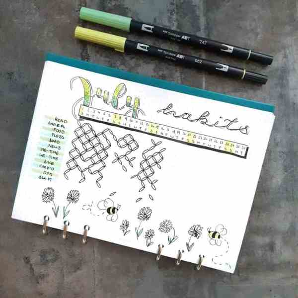 Bee and flower habit tracker doodles