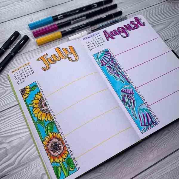 Sunflower bullet journal theme