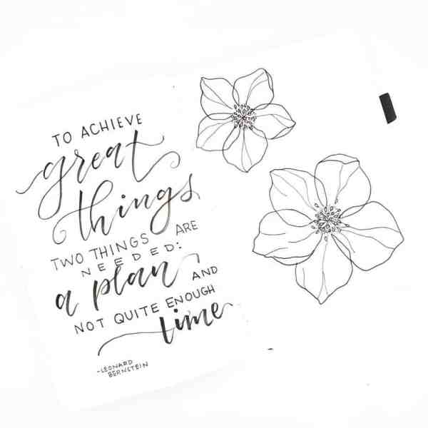 Doodle flowers and quotes bullet journal spread