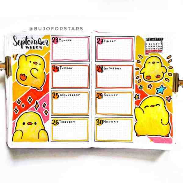 Chick theme weekly bujo layout