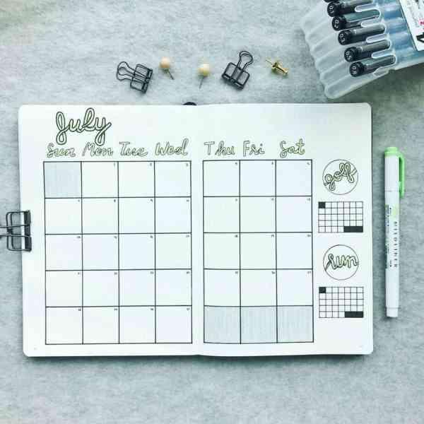 July monthly layout minimalist