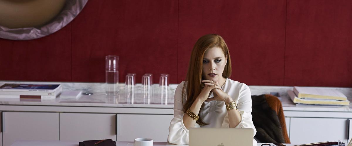 Imagem de Animais Noturnos que traz uma pensativa Amy Adams encarando seu computador