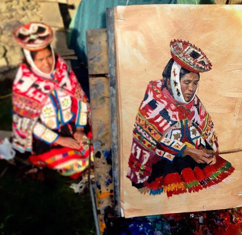 Alice Boggs-Rolfe Art - Painting Andean Women in Peru