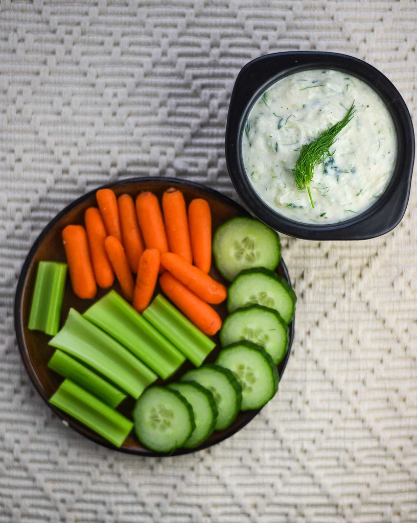 Vegan tzatziki with fresh veggies for dipping.