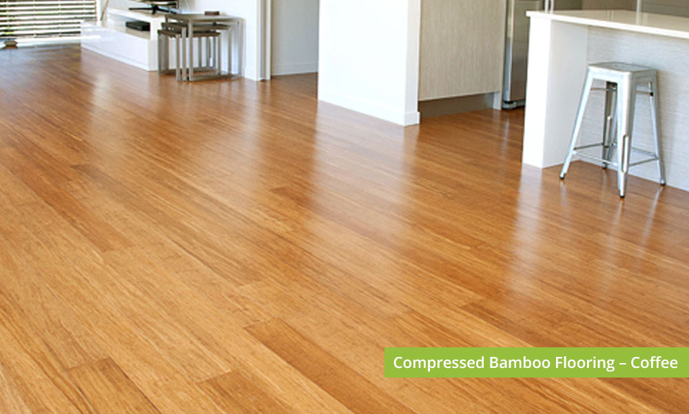 Plantation Bamboo Flooring Products New Zealand - Compressed bamboo flooring shown in coffee colour-way installed in kitchen and dinning