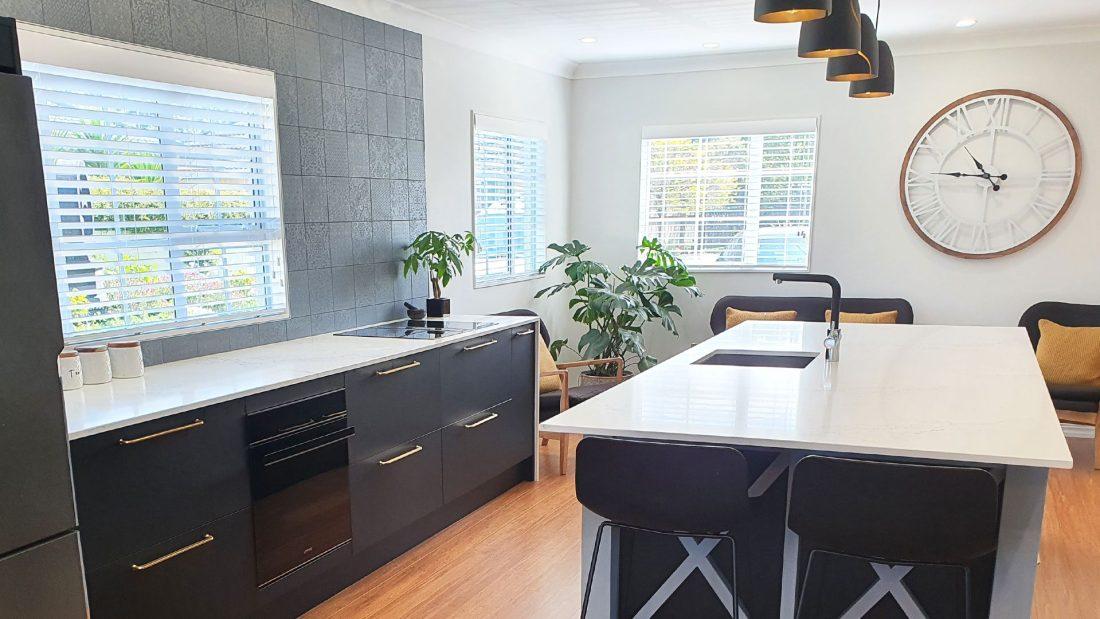 modern kitchen design featuring bamboo flooring