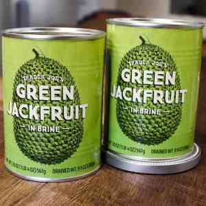 Two cans of canned green jackfruit.