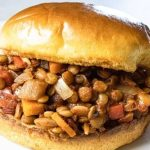 lentil sloppy joe on a white plate