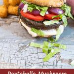 Portobello Mushroom Burger with vegan garlic aioli and a side of tater tots.