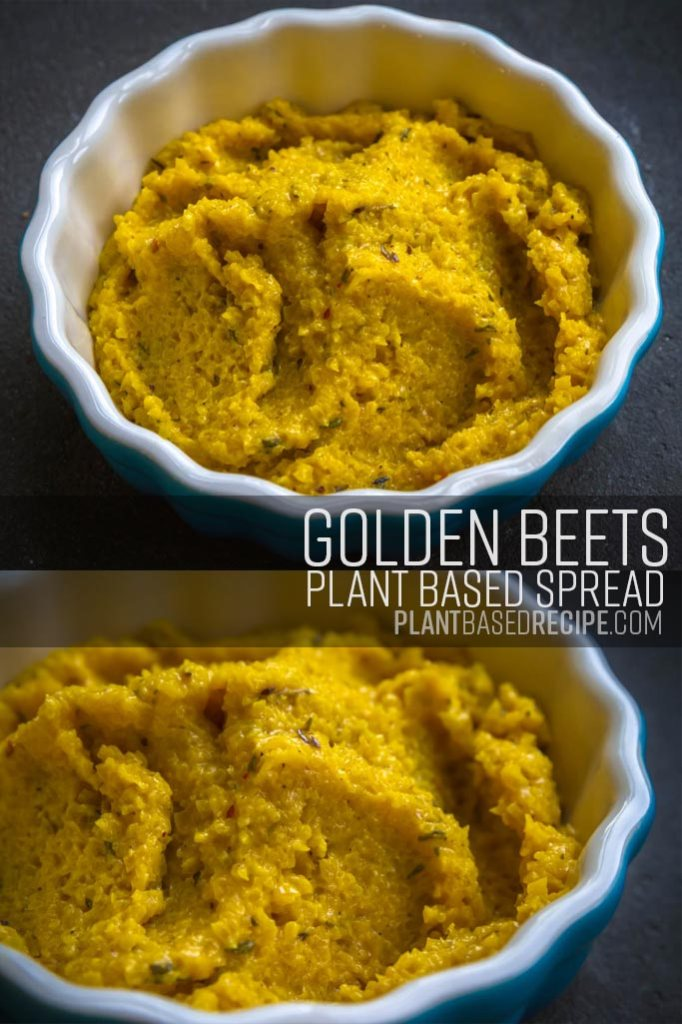 Pinterest ready image of beet spread.