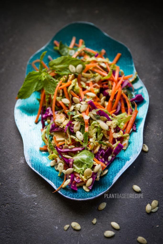 This vegan salad has brussel sprouts, carrots, and purple cabbage.