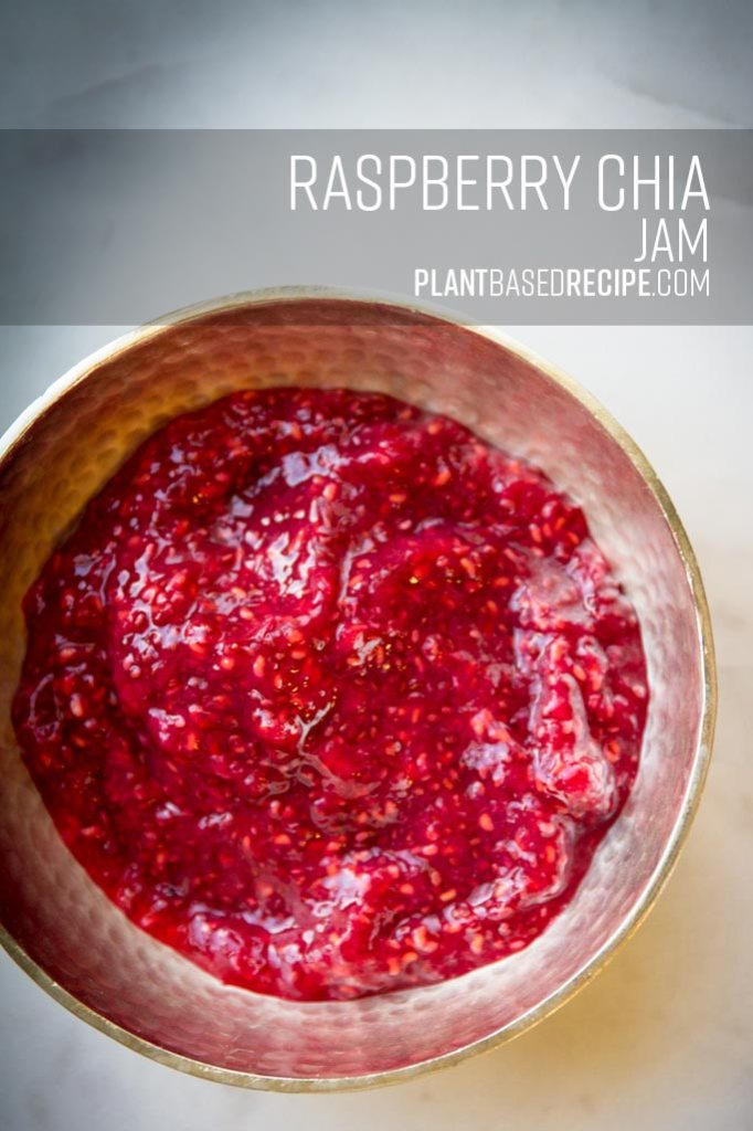 Pinnable image of raspberry chia jam.