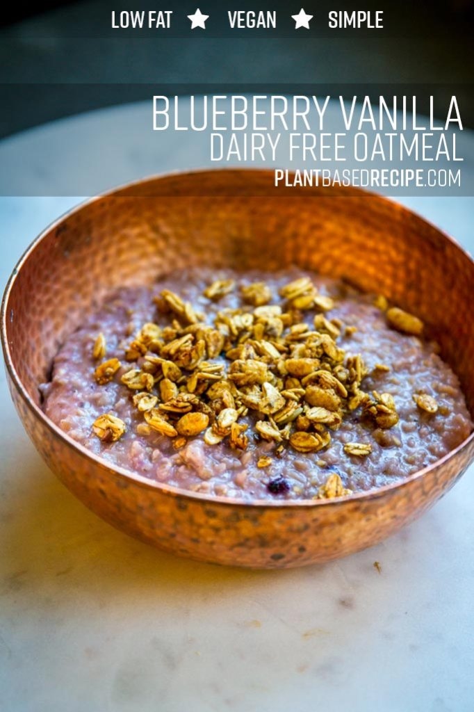 Blueberry Vanilla Oatmeal - Pin this image on pinterest to save the recipe for later.