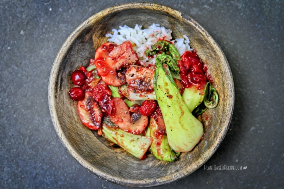 Oil Free stir fry: Cranberry Mushroom and bok choy in a bowl