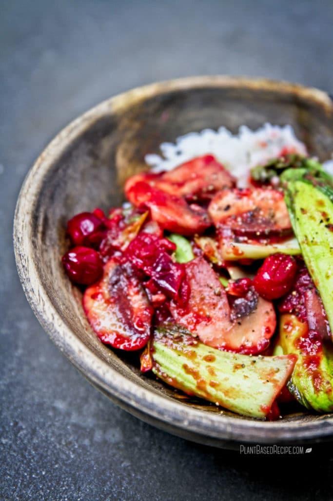 Spicy Cranberry Mushroom Bok Choy Stir Fry (Low Fat, Vegan, Oil Free)