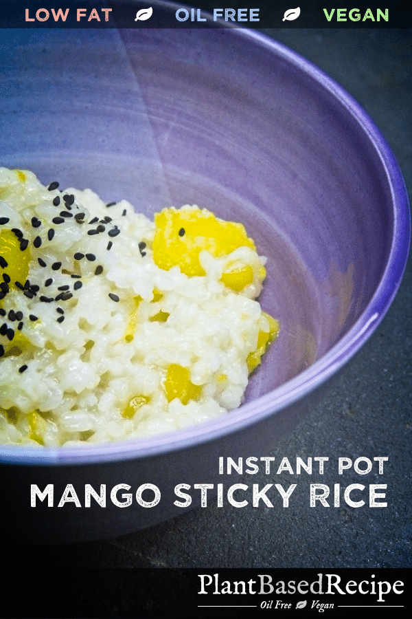 Pinnable image for recipe for mango sticky rice.