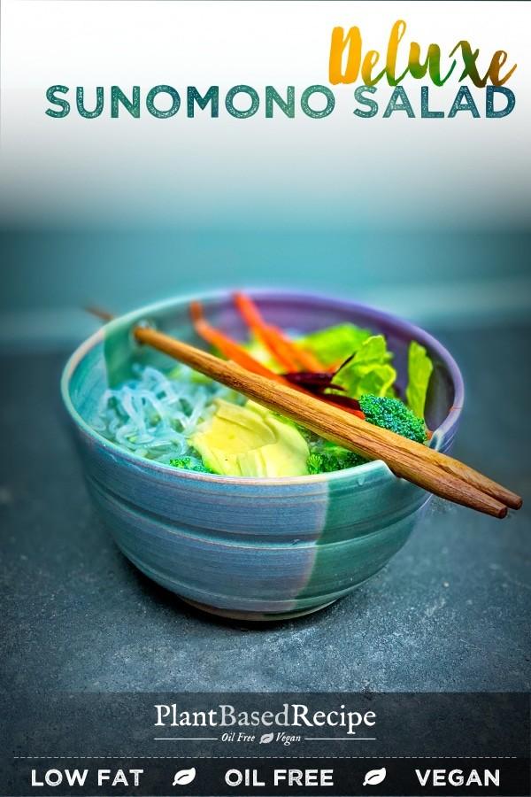This deluxe sunomono salad recipe includes a bunch of vegetables, rice noodles, and a sweet vinegar broth. #sunomono #vegan #WFPB #veganrecipe #plantbasedrecipe