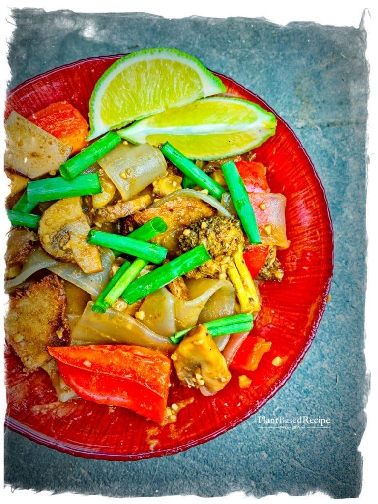 Spicy Vegan Drunken Noodles Recipe (Pad Kee Mao – Oil Free, Low Fat)