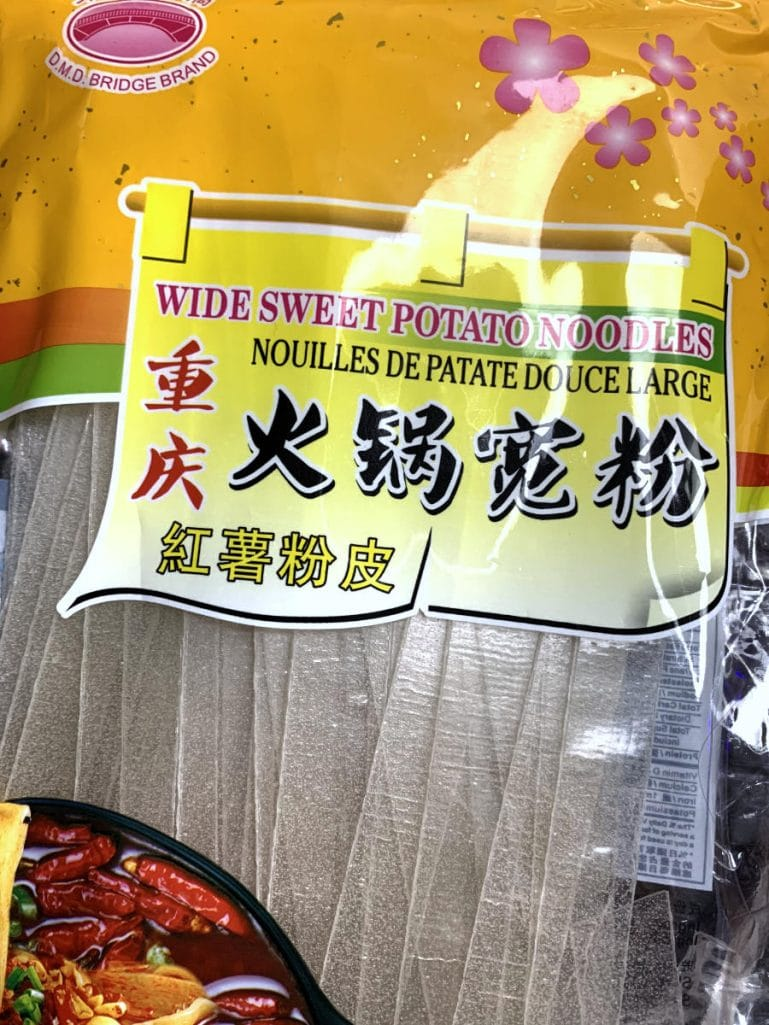 Wide sweet potato vermicelli noodle in bag