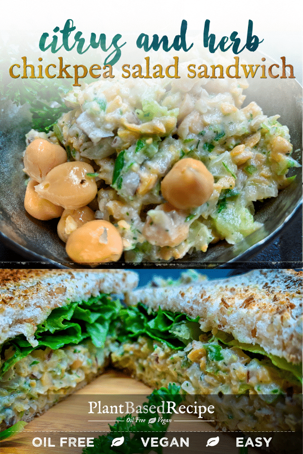 This recipe for citrus and herb chickpea salad sandwich is easy, cheap, vegan, and oil free.