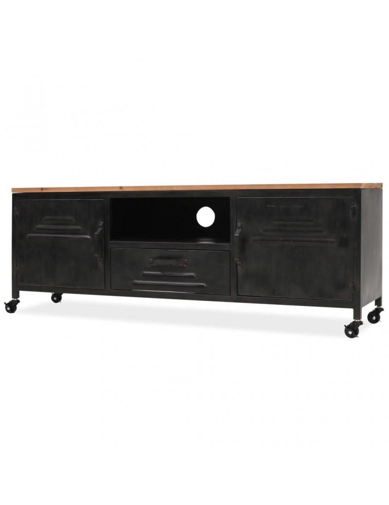 meuble tv casier industriel a roulettes 120x30x43cm