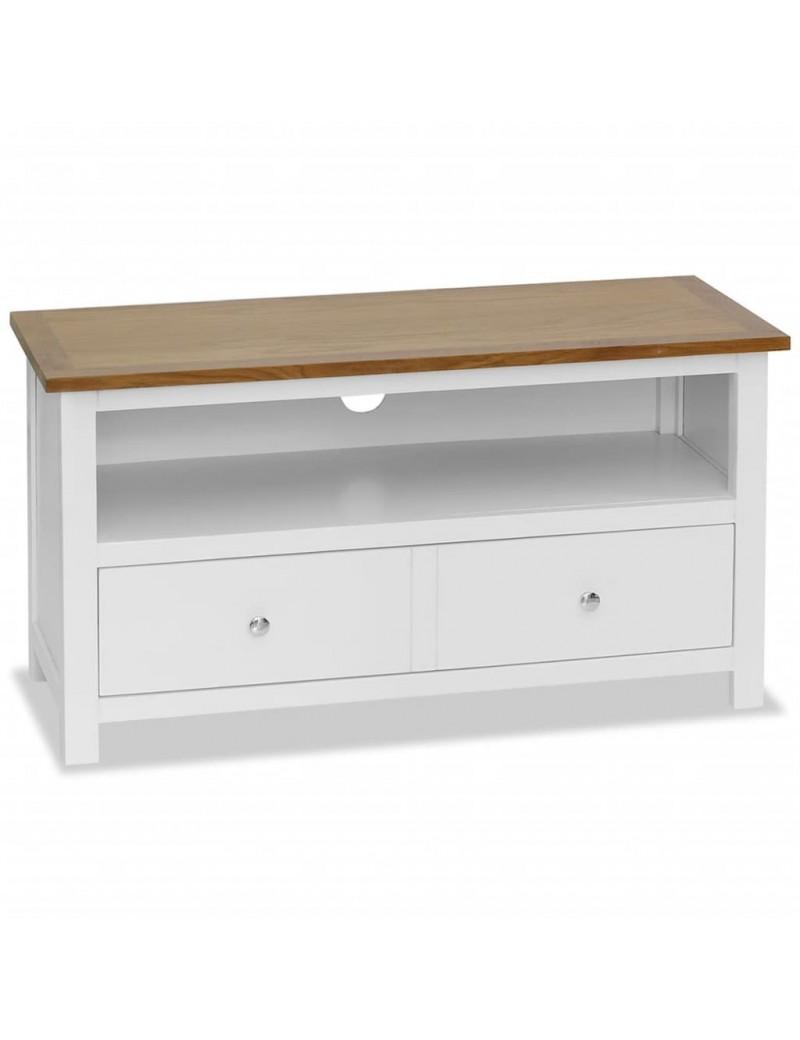 meuble tv en bois de chene massif blanc 90x35x48cm