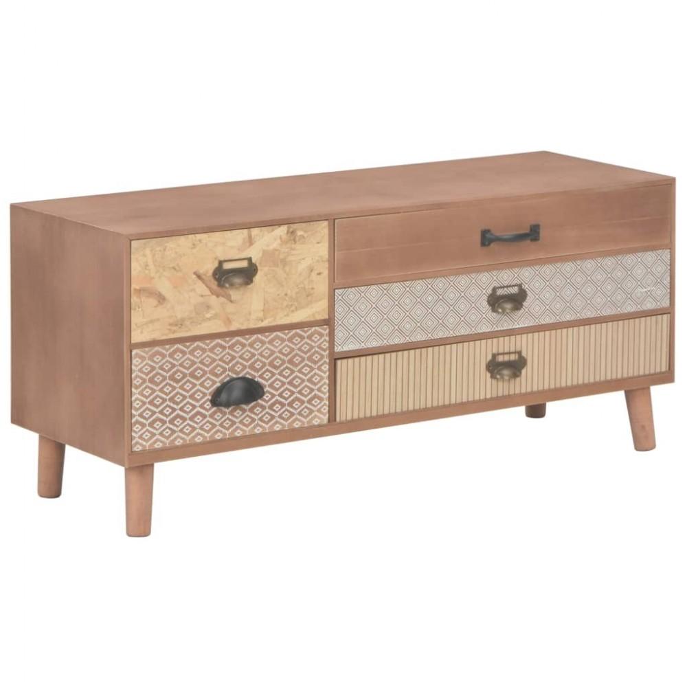 meuble tv scandinave avec 5 tiroirs en bois de pin massif 90x30x40cm achat sur plante ta deco