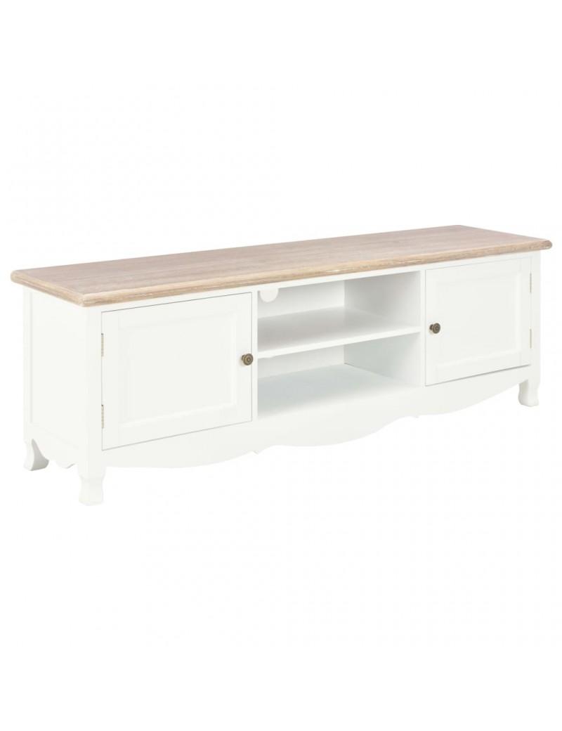 meuble tv blanc dessus couleur bois naturel 120x30x40cm