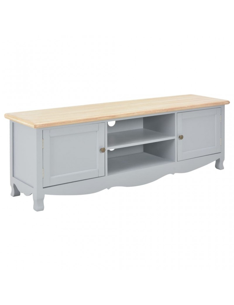 meuble tv gris en bois avec placage de paulownia 120x30x40cm