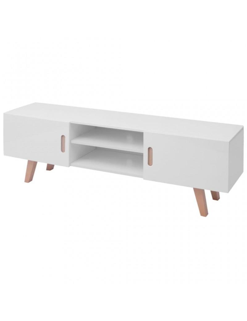 meuble tv en bois blanc brillant style scandinave 150x35x48 5cm