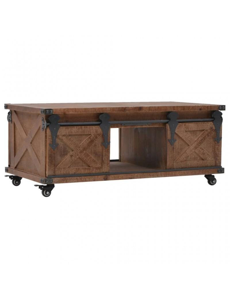 table basse en bois de sapin massif marron avec roulettes 91x51x38cm