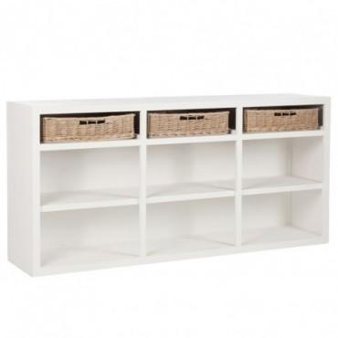 console 3 paniers bois de couleur blanche