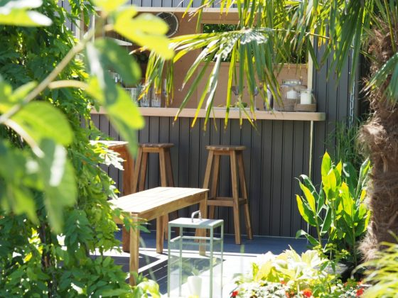 We loved this shed bar idea from the The B&Q Bursting Busy Lizzie Garden which won an RHS Gold Medal