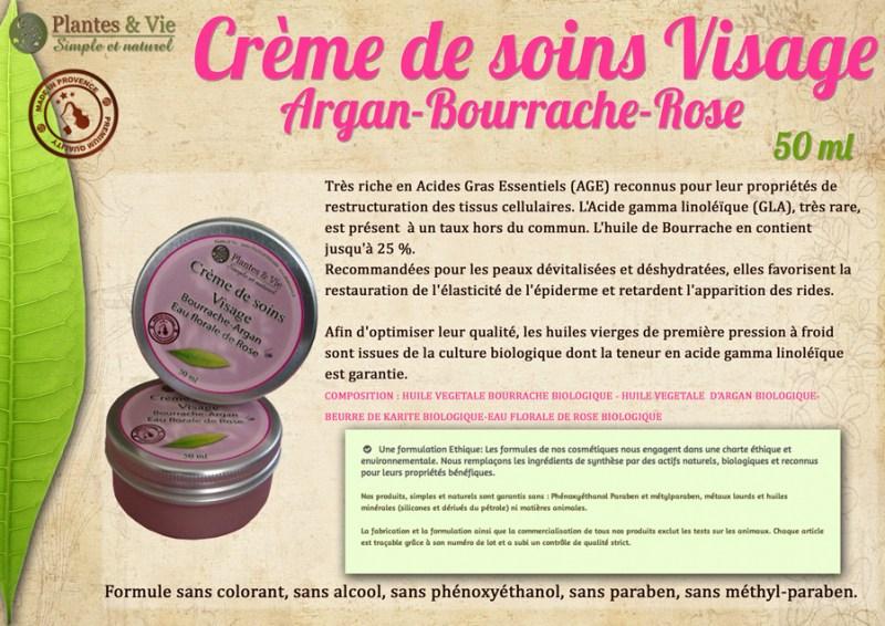 Creme de soins Argan bourrache rose