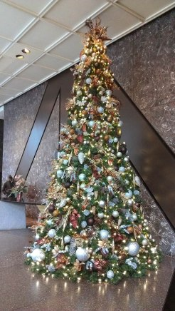heavily decorated lobby giant tree