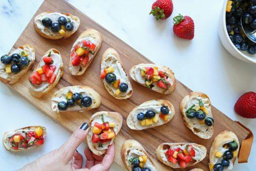 strawberry and blueberry bruschetta