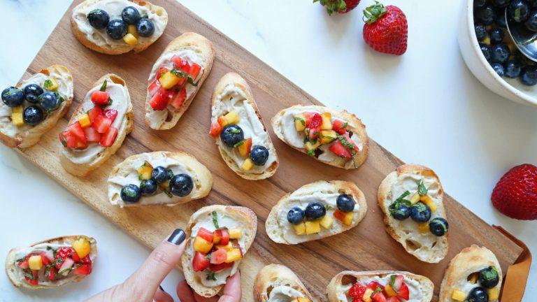 Vegan Fruit Bruschetta Recipe Featuring Strawberry and Blueberry