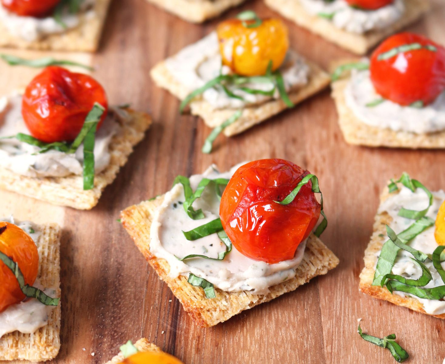 Mini Vegan Toasts with Cheese, Blistered Tomatoes, and Basil