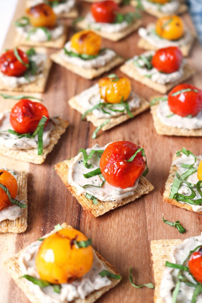 mini toasts with blistered tomatoes