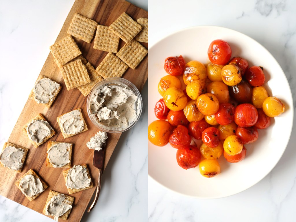 Triscuits next to blistered tomatoes in a bowl and cashew cheese spread