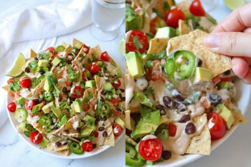 vegan nachos on a plate